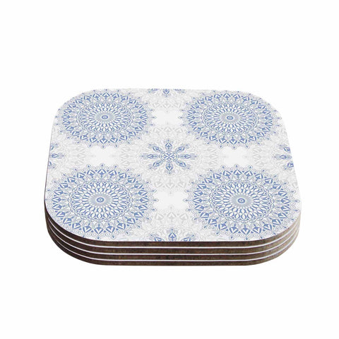 "Julia Grifol ""Mandalas In Blue"" Vector Geometric Coasters (Set of 4)"