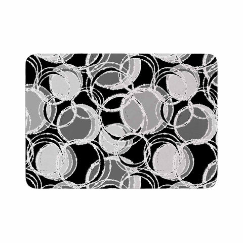 "Julia Grifol ""Simple Grey Circles"" Black Gray Memory Foam Bath Mat - KESS InHouse"