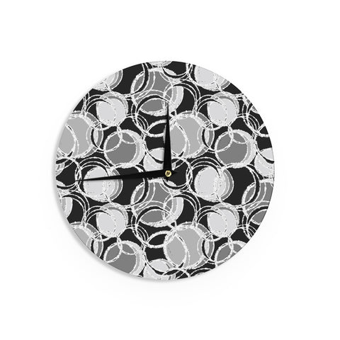 "Julia Grifol ""Simple Grey Circles"" Black Gray Wall Clock - KESS InHouse"