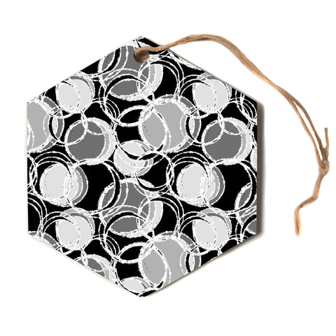 "julia grifol ""Simple Grey Circles"" Black Gray Hexagon Holiday Ornament"