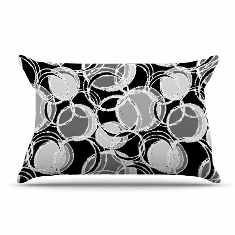 "Julia Grifol ""Simple Grey Circles"" Black Gray Pillow Sham - KESS InHouse  - 1"