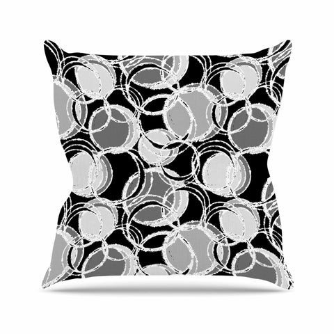 "Julia Grifol ""Simple Grey Circles"" Black Gray Outdoor Throw Pillow - KESS InHouse  - 1"