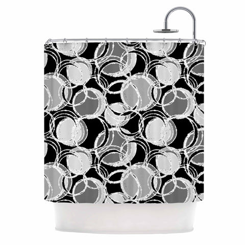 "Julia Grifol ""Simple Grey Circles"" Black Gray Shower Curtain - KESS InHouse"