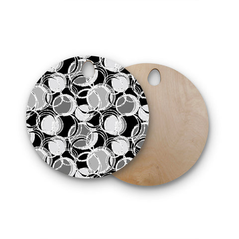 "Julia Grifol ""Simple Grey Circles"" Black Gray Round Wooden Cutting Board"