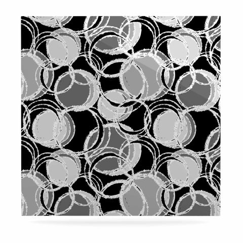 "Julia Grifol ""Simple Grey Circles"" Black Gray Luxe Square Panel - KESS InHouse  - 1"
