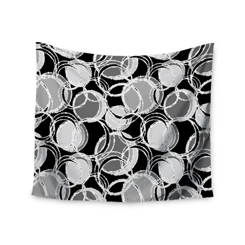 "Julia Grifol ""Simple Grey Circles"" Black Gray Wall Tapestry - KESS InHouse  - 1"