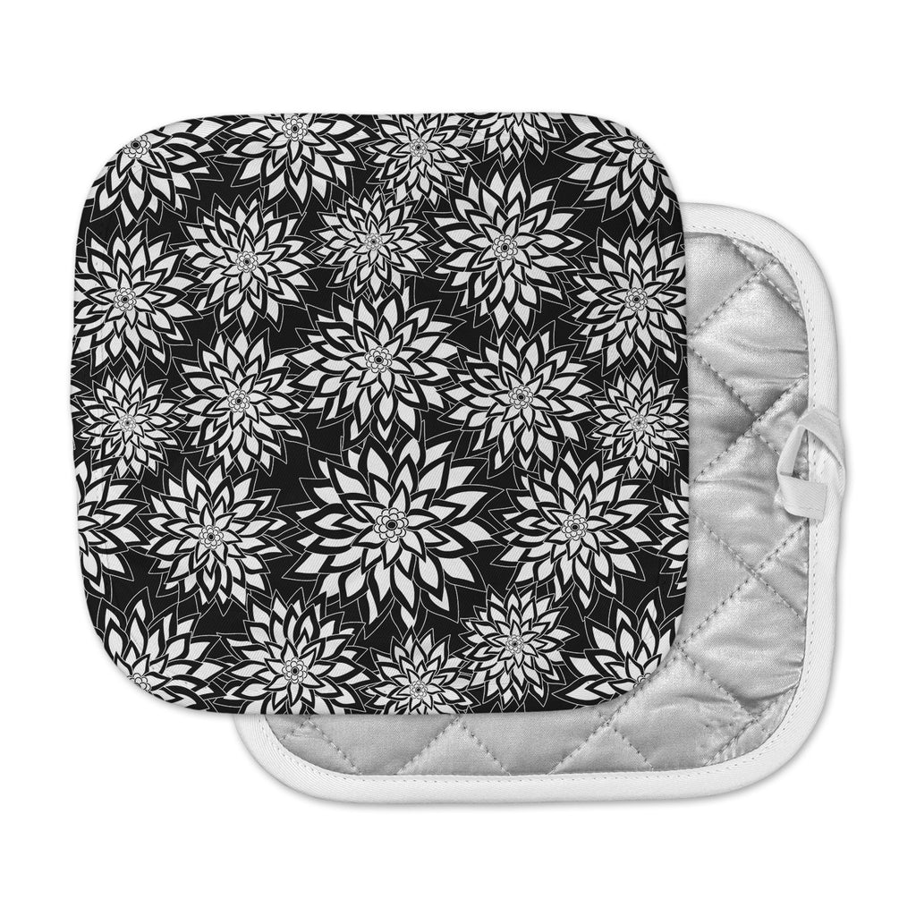 "Julia Grifol ""Black And White Garden"" Digital Vector Pot Holder"