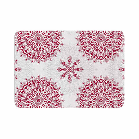 "Julia Grifol ""Geometric Mandalas"" Red White Memory Foam Bath Mat - KESS InHouse"