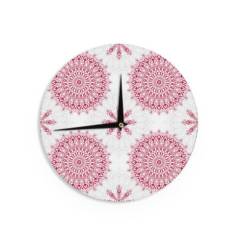 "Julia Grifol ""Geometric Mandalas"" Red White Wall Clock - KESS InHouse"