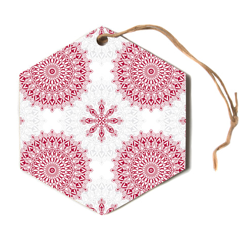 "julia grifol ""Geometric Mandalas"" Red White Hexagon Holiday Ornament"