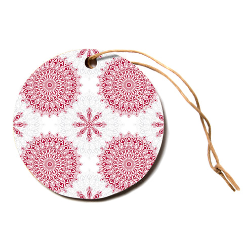 "julia grifol ""Geometric Mandalas"" Red White Circle Holiday Ornament"