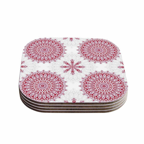 "Julia Grifol ""Geometric Mandalas"" Red White Coasters (Set of 4)"