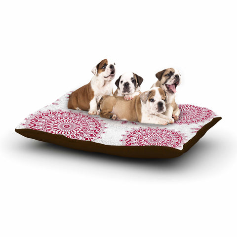 "Julia Grifol ""Geometric Mandalas"" Red White Dog Bed - KESS InHouse  - 1"