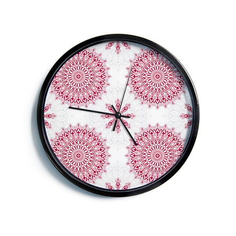 "Julia Grifol ""Geometric Mandalas"" Red White Modern Wall Clock"