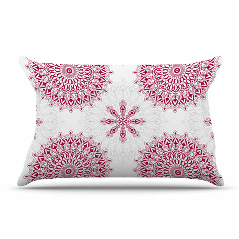 "Julia Grifol ""Geometric Mandalas"" Red White Pillow Sham - KESS InHouse  - 1"