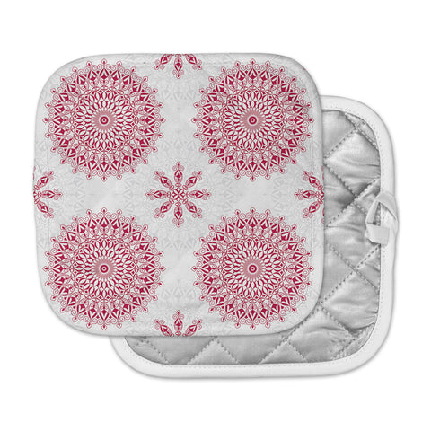 "Julia Grifol ""Geometric Mandalas"" Red White Pot Holder"