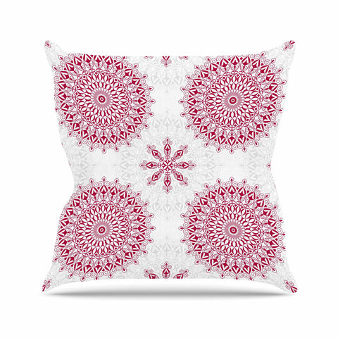 "Julia Grifol ""Geometric Mandalas"" Red White Outdoor Throw Pillow - KESS InHouse  - 1"