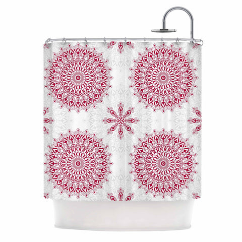 "Julia Grifol ""Geometric Mandalas"" Red White Shower Curtain - KESS InHouse"