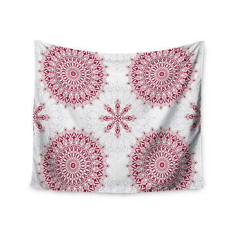 "Julia Grifol ""Geometric Mandalas"" Red White Wall Tapestry - KESS InHouse  - 1"