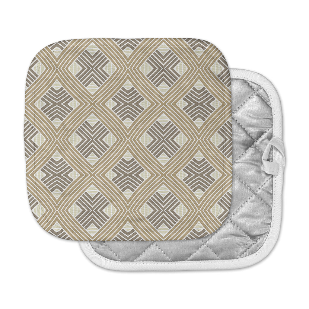 "Julia Grifol ""Brown Geometries"" Beige Geometric Pot Holder"