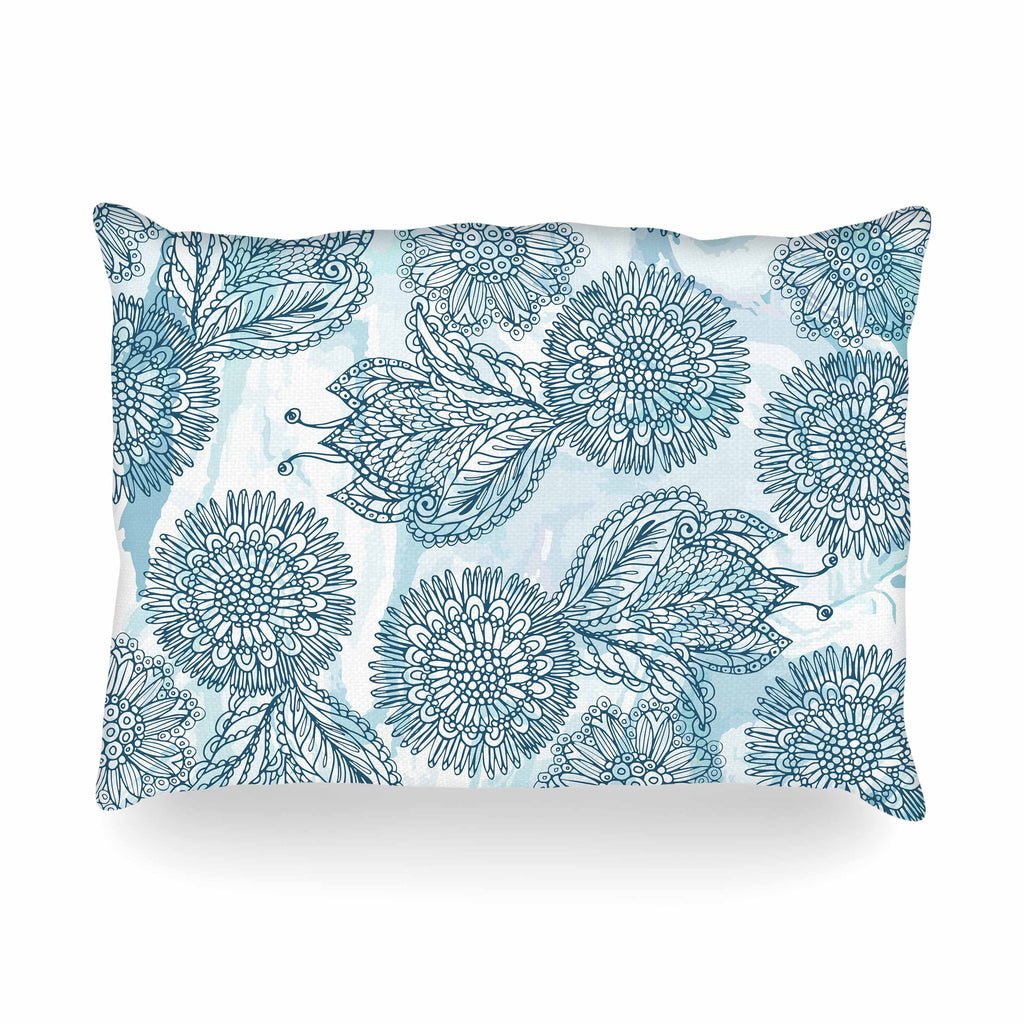 "Julia Grifol ""Garden In Blue"" Blue Floral Vector Oblong Pillow"