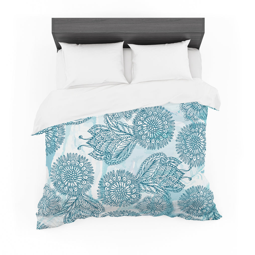 "Julia Grifol ""Garden In Blue"" Blue Floral Vector Featherweight Duvet Cover"