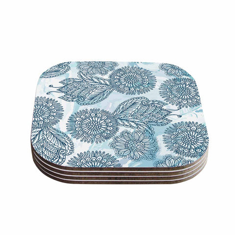 "Julia Grifol ""Garden In Blue"" Blue Floral Vector Coasters (Set of 4)"