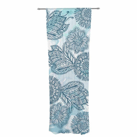 "Julia Grifol ""Garden In Blue"" Blue Floral Vector Decorative Sheer Curtain"