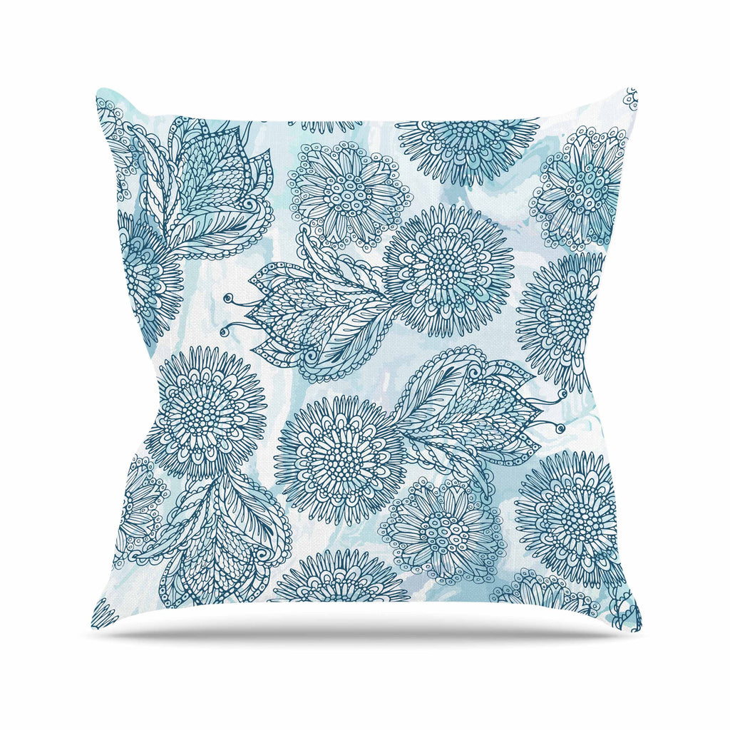 "Julia Grifol ""Garden In Blue"" Blue Floral Vector Throw Pillow"