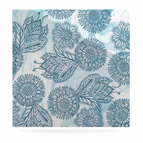 "Julia Grifol ""Garden In Blue"" Blue Floral Vector Luxe Square Panel"