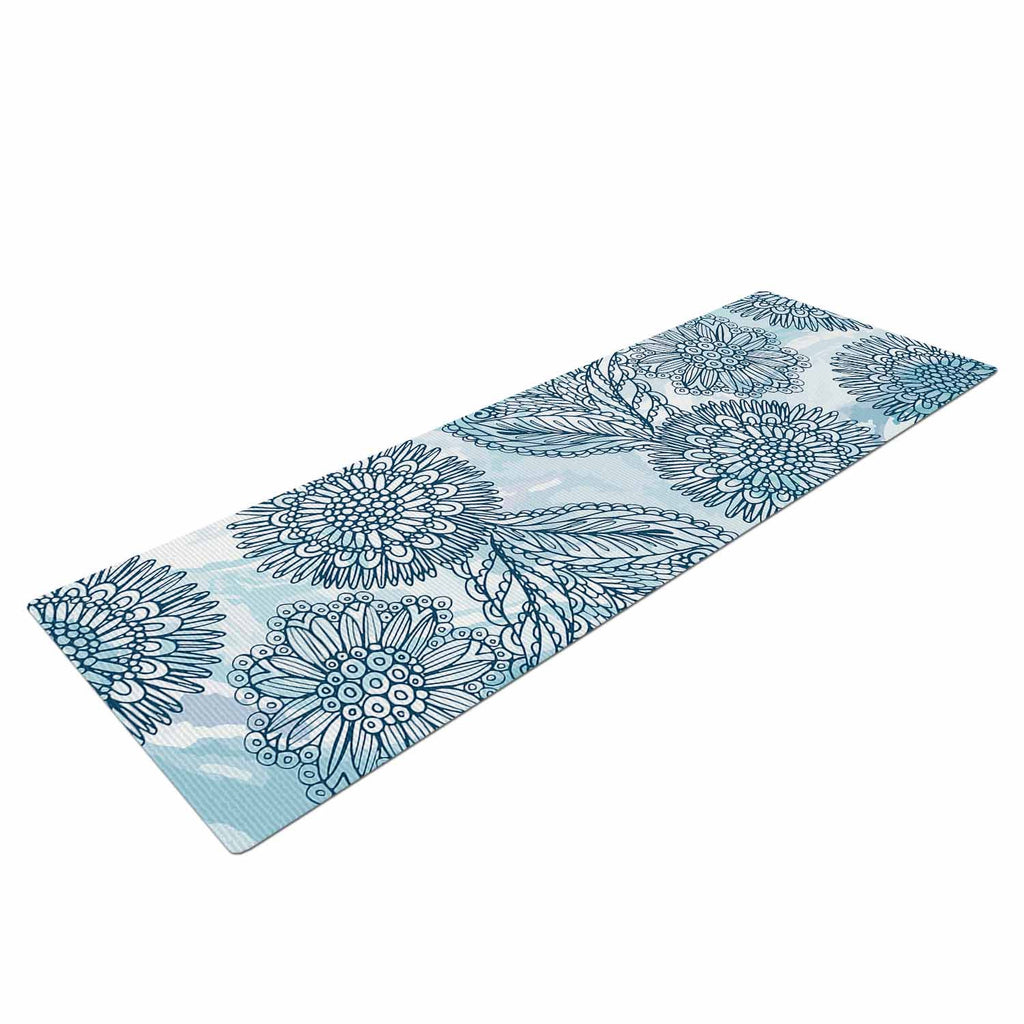 "Julia Grifol ""Garden In Blue"" Blue Floral Vector Yoga Mat"