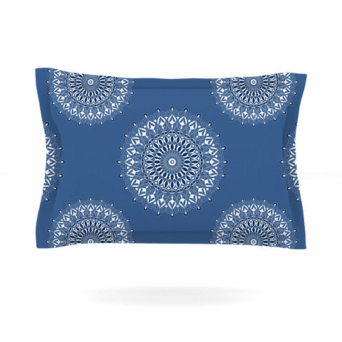 "Julia Grifol ""Blue Harmony"" Blue White Digital Pillow Sham - Outlet Item"