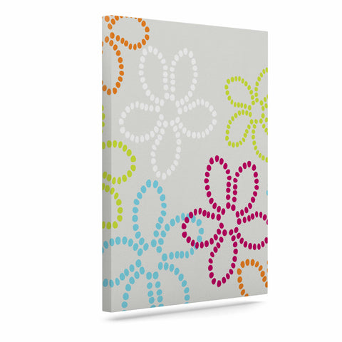 "Julia Grifol ""Dancing Flowers"" Gray Orange Vector Canvas Art - KESS InHouse  - 1"
