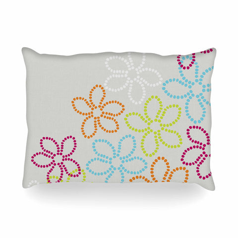 "Julia Grifol ""Dancing Flowers"" Gray Orange Vector Oblong Pillow - KESS InHouse"