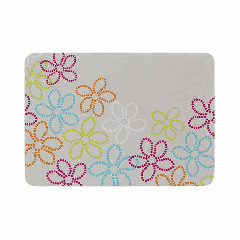 "Julia Grifol ""Dancing Flowers"" Gray Orange Vector Memory Foam Bath Mat - KESS InHouse"