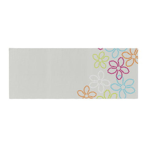 "Julia Grifol ""Dancing Flowers"" Gray Orange Vector Bed Runner - KESS InHouse  - 1"