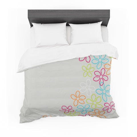 "Julia Grifol ""Dancing Flowers"" Gray Orange Vector Featherweight Duvet Cover"