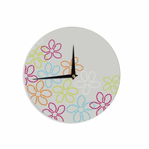 "Julia Grifol ""Dancing Flowers"" Gray Orange Vector Wall Clock - KESS InHouse"