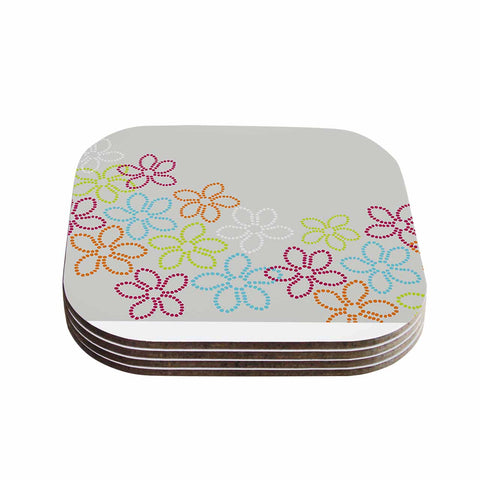 "Julia Grifol ""Dancing Flowers"" Gray Orange Vector Coasters (Set of 4)"