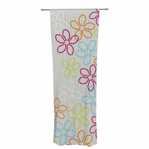 "Julia Grifol ""Dancing Flowers"" Gray Orange Vector Decorative Sheer Curtain - KESS InHouse  - 1"