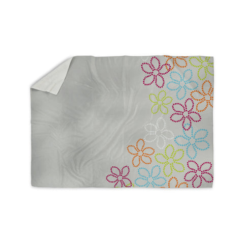 "Julia Grifol ""Dancing Flowers"" Gray Orange Vector Sherpa Blanket - KESS InHouse"