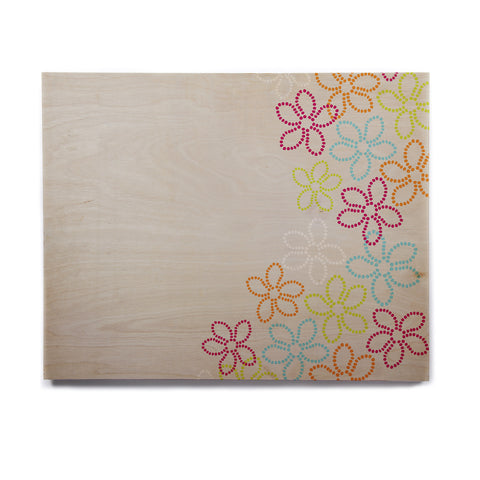 "Julia Grifol ""Dancing Flowers"" Gray Orange Vector Birchwood Wall Art - KESS InHouse  - 1"