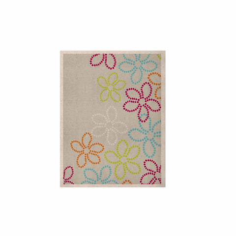 "Julia Grifol ""Dancing Flowers"" Gray Orange Vector KESS Naturals Canvas (Frame not Included) - KESS InHouse  - 1"