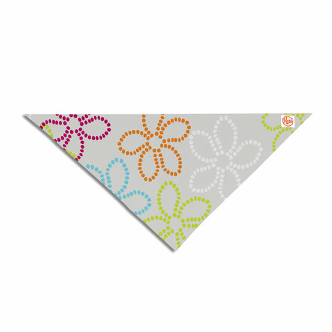 "Julia Grifol ""Dancing Flowers"" Gray Orange Vector Pet Bandana - KESS InHouse  - 1"