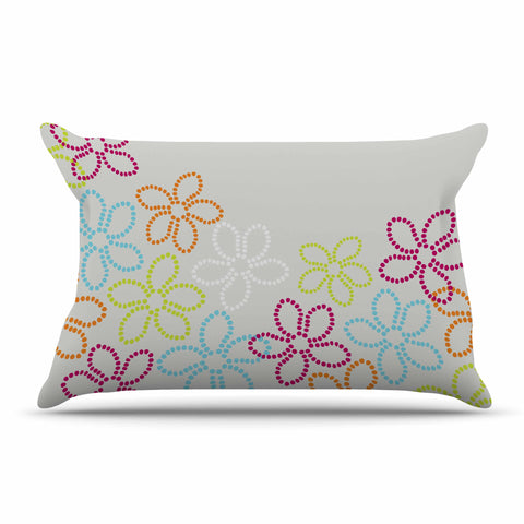 "Julia Grifol ""Dancing Flowers"" Gray Orange Vector Pillow Sham - KESS InHouse  - 1"