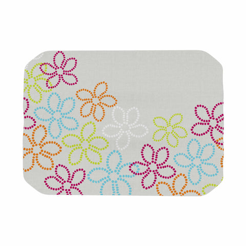 "Julia Grifol ""Dancing Flowers"" Gray Orange Vector Place Mat - KESS InHouse"