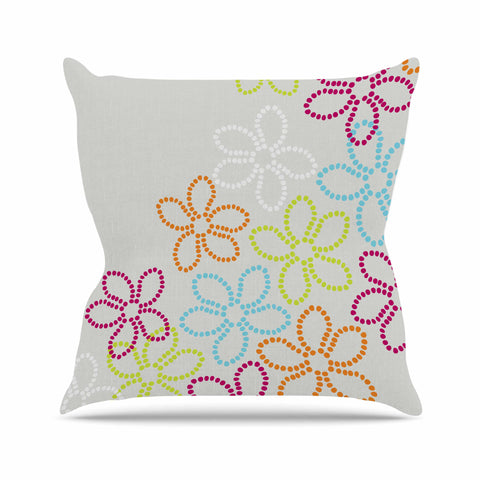 "Julia Grifol ""Dancing Flowers"" Gray Orange Vector Outdoor Throw Pillow - KESS InHouse  - 1"