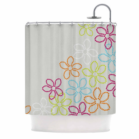 "Julia Grifol ""Dancing Flowers"" Gray Orange Vector Shower Curtain - KESS InHouse"