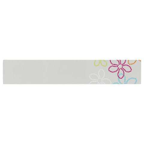 "Julia Grifol ""Dancing Flowers"" Gray Orange Vector Table Runner - KESS InHouse  - 1"