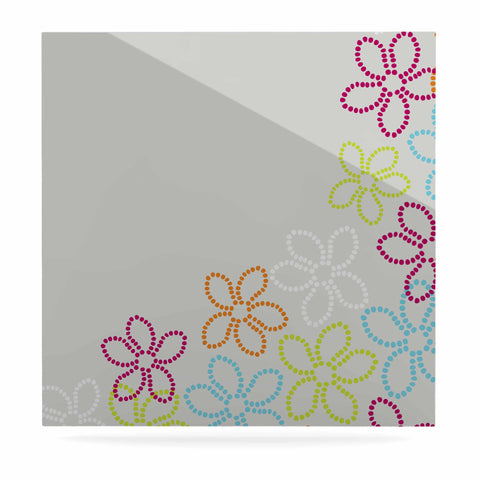 "Julia Grifol ""Dancing Flowers"" Gray Orange Vector Luxe Square Panel - KESS InHouse  - 1"